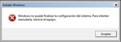 Error Sysprep - Windows No puede Finalizar la configuración del sistema. Para intentar reanudarla, reinicie el equipo.