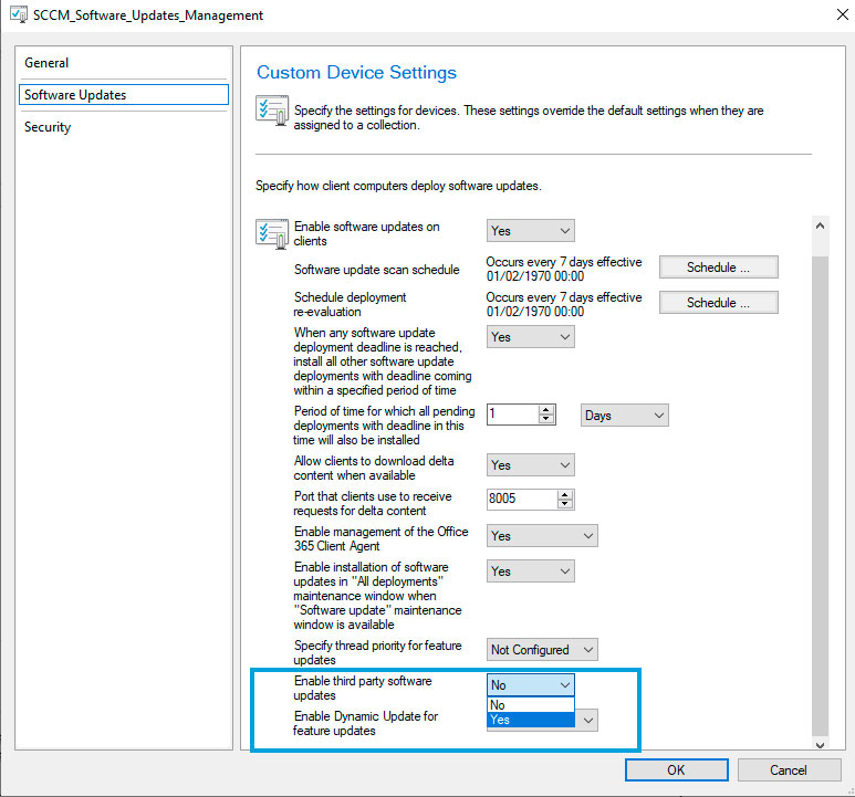 Creando Custom Device Client Settings en SCCM Para Habilitar Third Party Updates en los Clientes